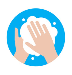 Hand washing with soap virus protection icon vector