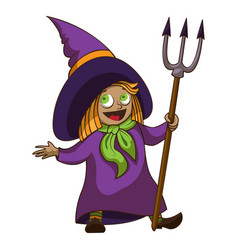 happy kid witch icon cartoon style vector image