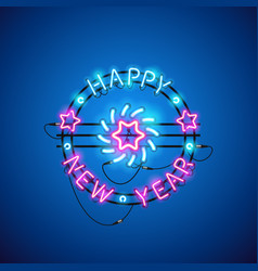 happy new year blue pink neon sign vector image