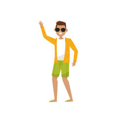 happy smiling guy waving his hand young man vector image