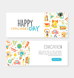 happy teacher day landing page template education vector image