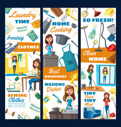 house cleaning laundry needlework service vector image