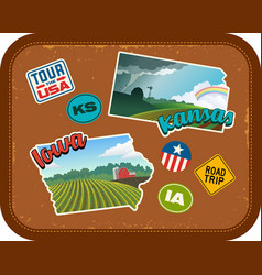 Iowa and kansas travel stickers vector