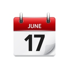 June 17 flat daily calendar icon Date vector image