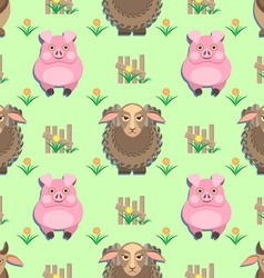 Kids seamless pattern with animals from the farm vector
