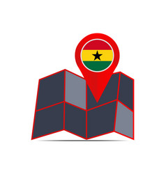 Map icon ghana is isolated country flag vector