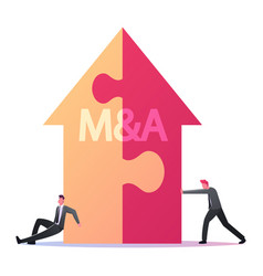 Merger and acquisition concept tiny businessmen vector