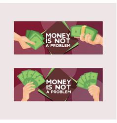 money stack dollar or currency cash in hands vector image