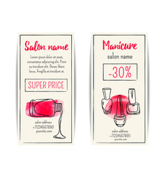 Nail polish watercolor coupon flyer set vector image