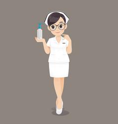 Nurse holding hand washing gel vector