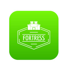 Old fortress icon green vector