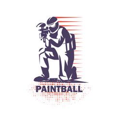 Paintball player stylized symbol logo or emblem vector