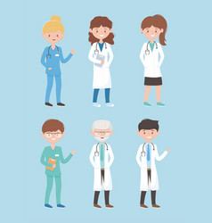 Physicians female male medical staff professional vector