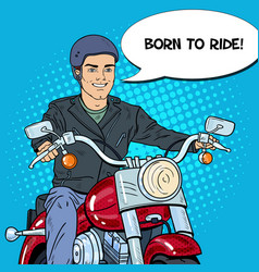 pop art man biker riding a chopper vector image