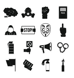 protest icons set simple style vector image