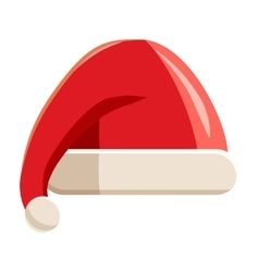 Red hat with pompom of Santa Claus icon vector