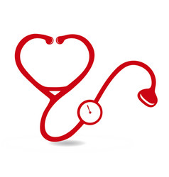 Red stethoscope health icon logo vector