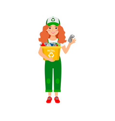 Redhead girl learning recycle trash vector