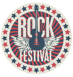 round emblem with guitar for a rock festival vector image