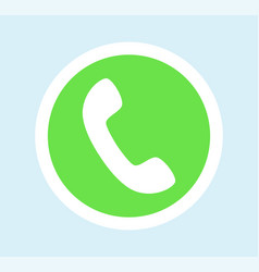 Round green button for call with phone icon vector