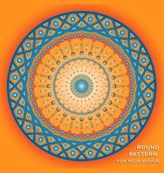round pattern with text in orange and blue vector image