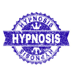 Scratched textured hypnosis stamp seal with ribbon vector