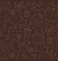 seamless pattern for coffee theme line art draw vector image
