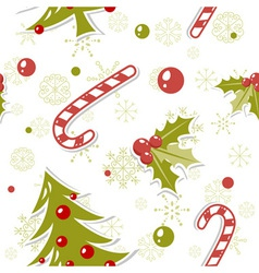 Seamless pattern with cute cartoon Christmas tree vector