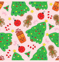 seamless pattern with cute christmas tree vector image