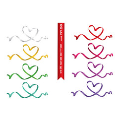 set of colored hearts from ribbons isolated on vector image