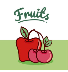 set of fruits cartoon vector image