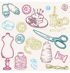 Sewing kit doodles vector