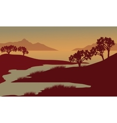 Silhouette of river at the morning vector image