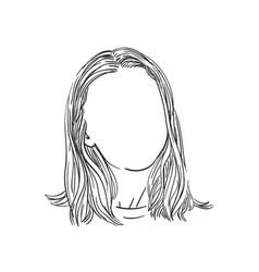 Sketch womans head with no face and long hair vector