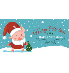 sketching new year 2019 pig hand vector image