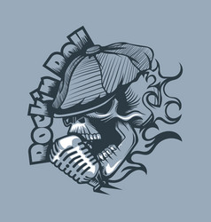 skull in a cap singing into microphone tattoo vector image