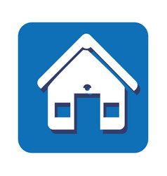 square button facade house icon design vector image