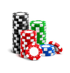 stack realistic empty chips for casino vector image
