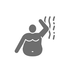 Stink of a fat man bad smell obesity grey icon vector