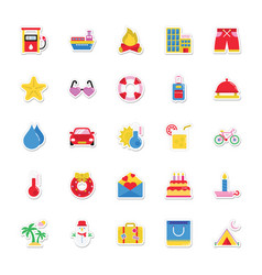 Summer and holidays icons 9 vector