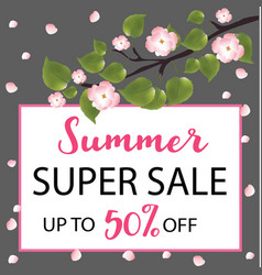 Summer super sale banner with a flowering tree vector