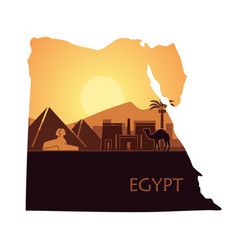 the abstract landscape egypt with a camel the vector image
