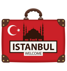 Travel bag with turkish flag and the hagia sophia vector