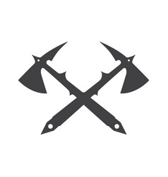 Two crossed battle axes with shartp spikes vector