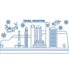 usa texas houston winter city skyline merry vector image