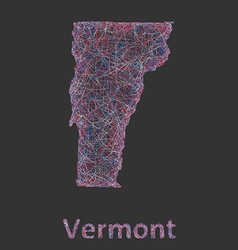 Vermont line art map vector