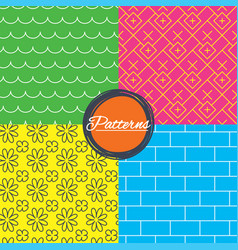 waves flowers and bricks seamless textures vector image