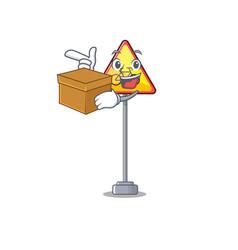 With box no cycling character shaped a mascot vector