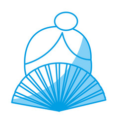 Woman and hand fan icon vector