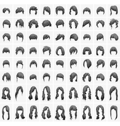 women hairstyles and haircuts in black tones vector image